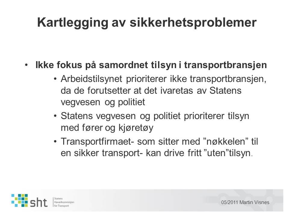 05/2011 Martin Visnes Kartlegging av sikkerhetsproblemer •Ikke fokus på samordnet tilsyn i transportbransjen •Arbeidstilsynet prioriterer ikke transpo