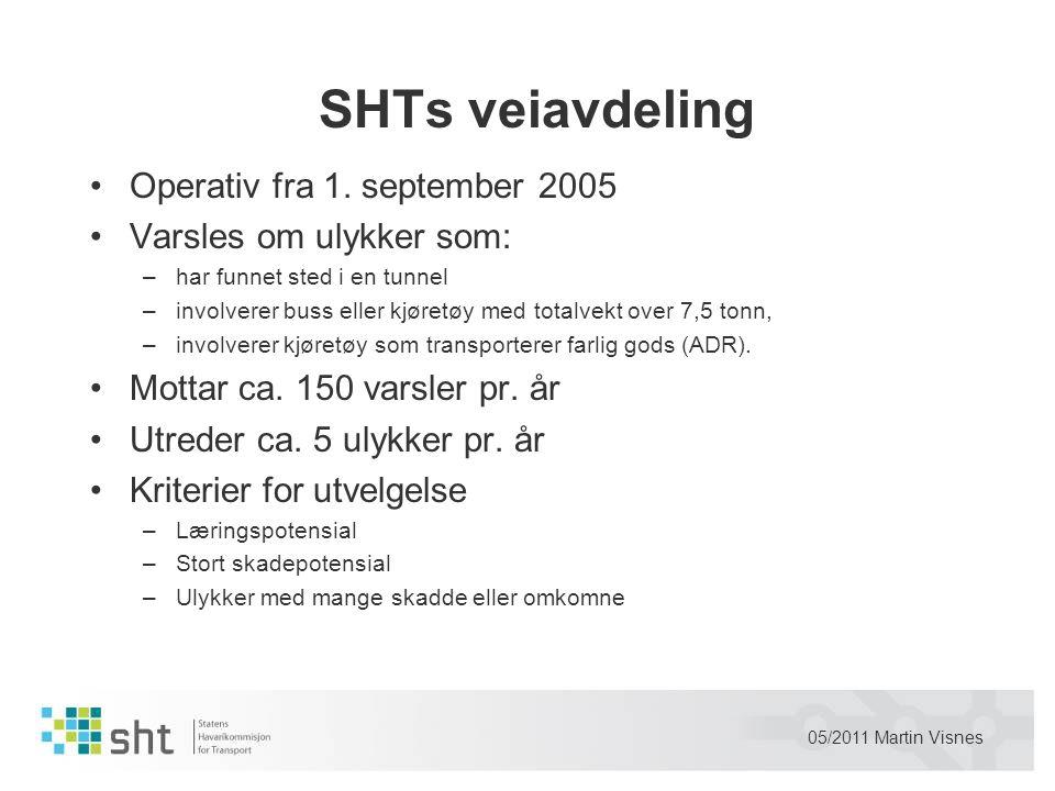 SHTs veiavdeling •Operativ fra 1. september 2005 •Varsles om ulykker som: –har funnet sted i en tunnel –involverer buss eller kjøretøy med totalvekt o