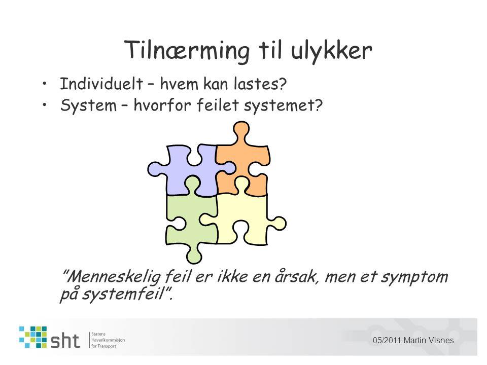 "05/2011 Martin Visnes Tilnærming til ulykker •Individuelt – hvem kan lastes? •System – hvorfor feilet systemet? ""Menneskelig feil er ikke en årsak, me"