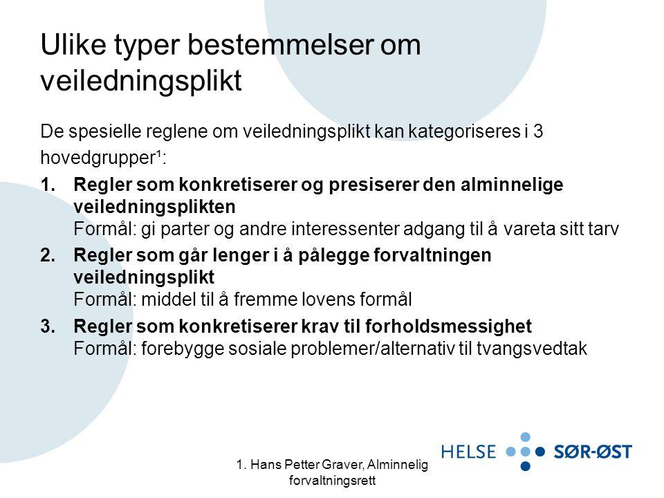 1. Hans Petter Graver, Alminnelig forvaltningsrett Ulike typer bestemmelser om veiledningsplikt De spesielle reglene om veiledningsplikt kan kategoris