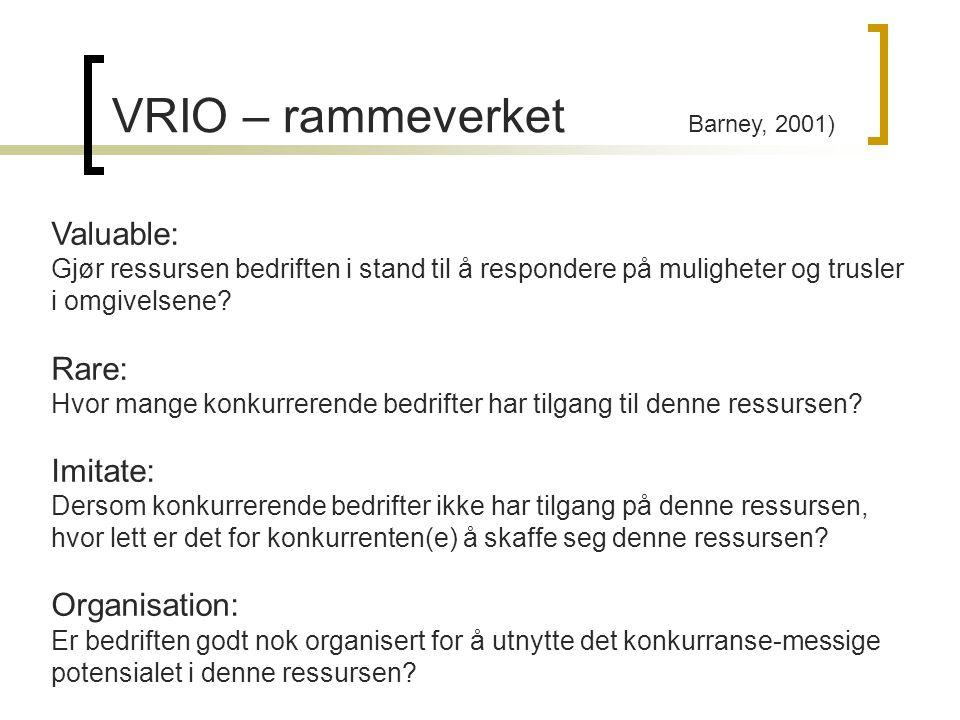 VRIO – rammeverket Barney, 2001) Valuable: Gjør ressursen bedriften i stand til å respondere på muligheter og trusler i omgivelsene? Rare: Hvor mange