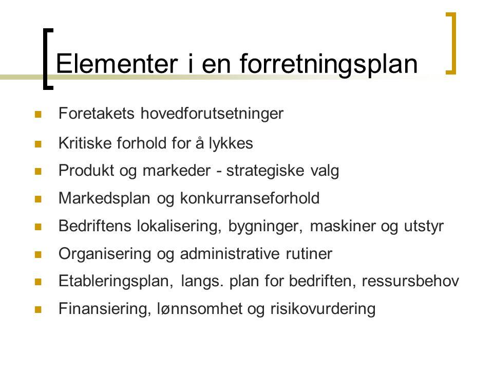 Elementer i en forretningsplan  Foretakets hovedforutsetninger  Kritiske forhold for å lykkes  Produkt og markeder - strategiske valg  Markedsplan