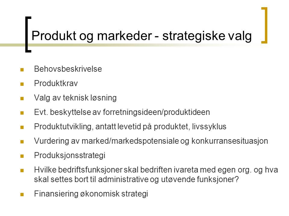 Produkt og markeder - strategiske valg  Behovsbeskrivelse  Produktkrav  Valg av teknisk løsning  Evt. beskyttelse av forretningsideen/produktideen