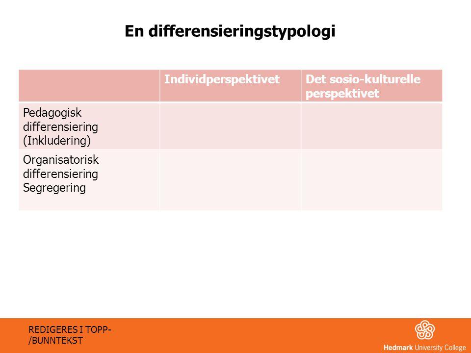 En differensieringstypologi IndividperspektivetDet sosio-kulturelle perspektivet Pedagogisk differensiering (Inkludering) Organisatorisk differensieri