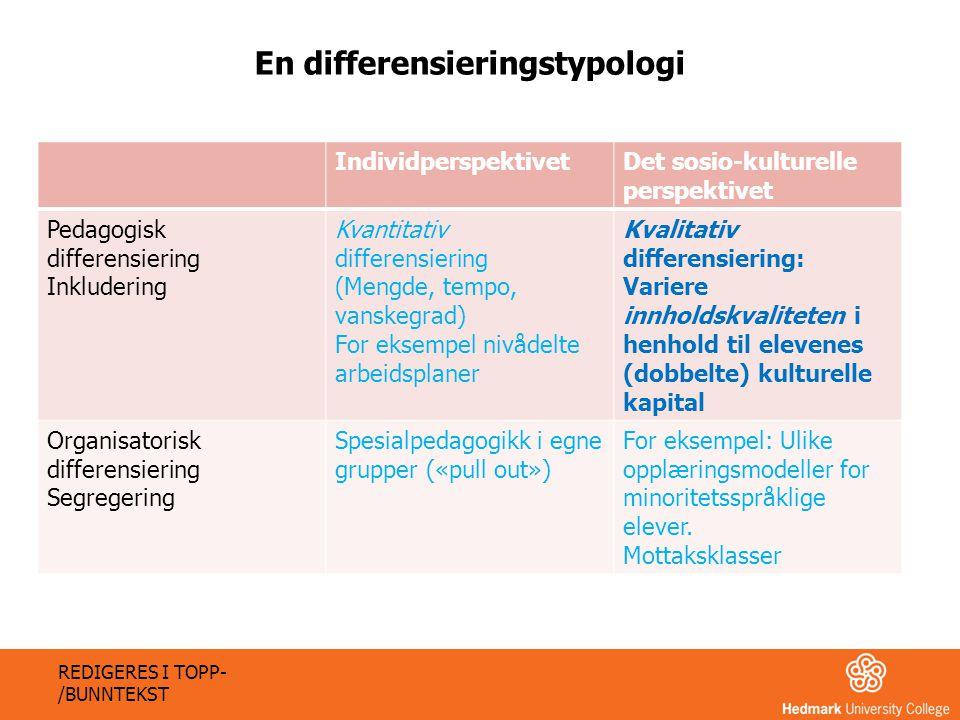 IndividperspektivetDet sosio-kulturelle perspektivet Pedagogisk differensiering Inkludering Kvantitativ differensiering (Mengde, tempo, vanskegrad) Fo
