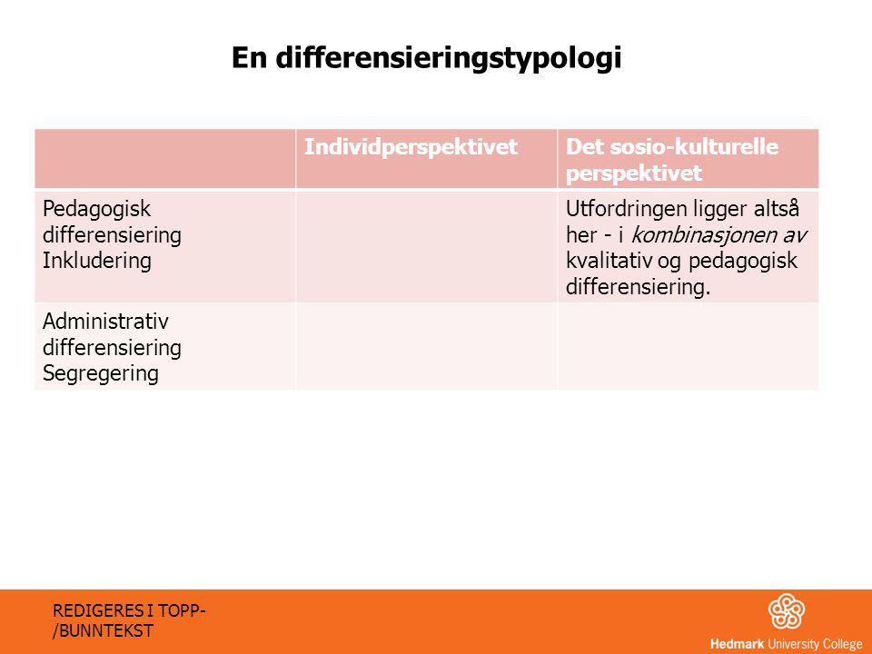 IndividperspektivetDet sosio-kulturelle perspektivet Pedagogisk differensiering Inkludering Utfordringen ligger altså her - i kombinasjonen av kvalita