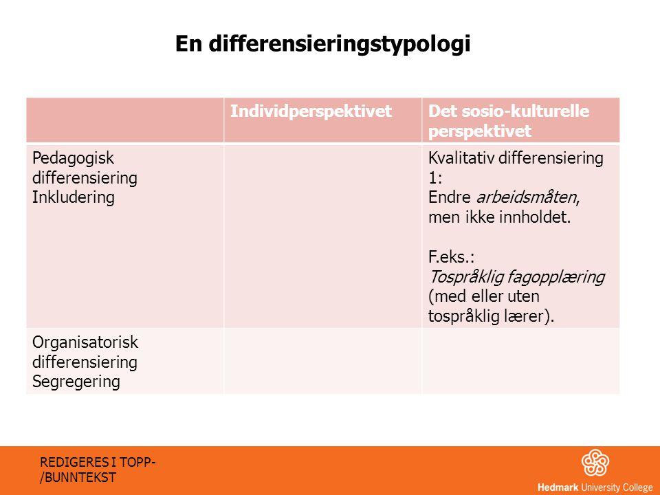 IndividperspektivetDet sosio-kulturelle perspektivet Pedagogisk differensiering Inkludering Kvalitativ differensiering 1: Endre arbeidsmåten, men ikke