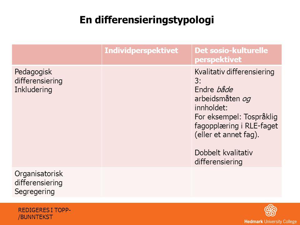 IndividperspektivetDet sosio-kulturelle perspektivet Pedagogisk differensiering Inkludering Kvalitativ differensiering 3: Endre både arbeidsmåten og i
