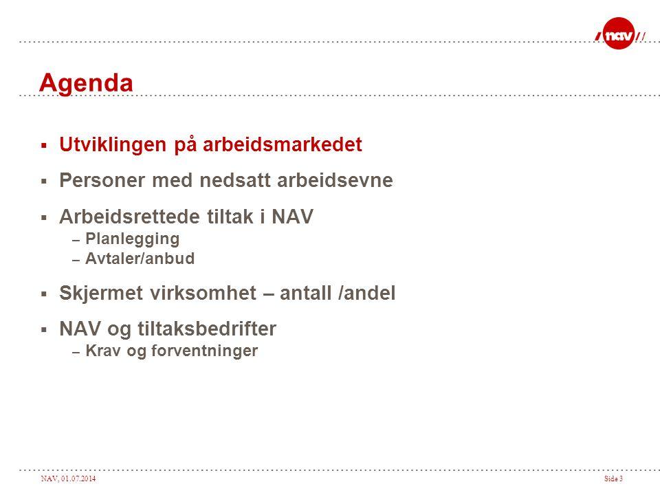 NAV, 01.07.2014Side 3 Agenda  Utviklingen på arbeidsmarkedet  Personer med nedsatt arbeidsevne  Arbeidsrettede tiltak i NAV – Planlegging – Avtaler