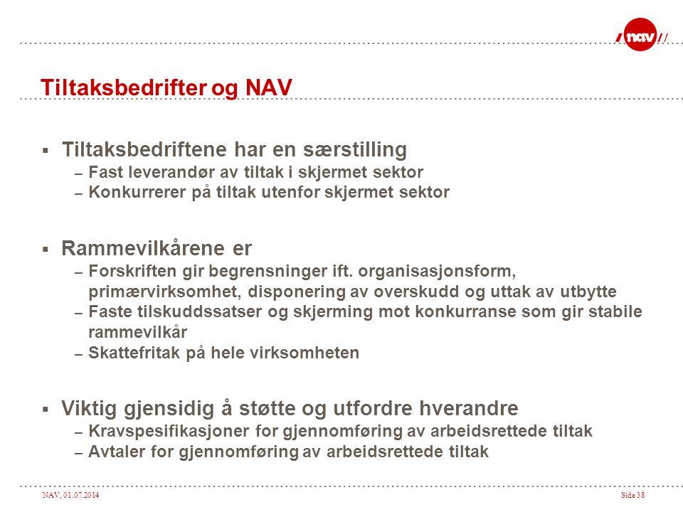 NAV, 01.07.2014Side 38 Tiltaksbedrifter og NAV  Tiltaksbedriftene har en særstilling – Fast leverandør av tiltak i skjermet sektor – Konkurrerer på t