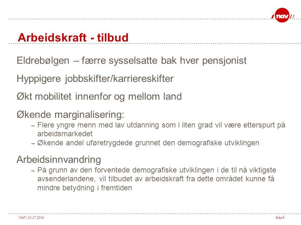 NAV, 01.07.2014Side 9 Arbeidskraft - tilbud Eldrebølgen – færre sysselsatte bak hver pensjonist Hyppigere jobbskifter/karriereskifter Økt mobilitet in