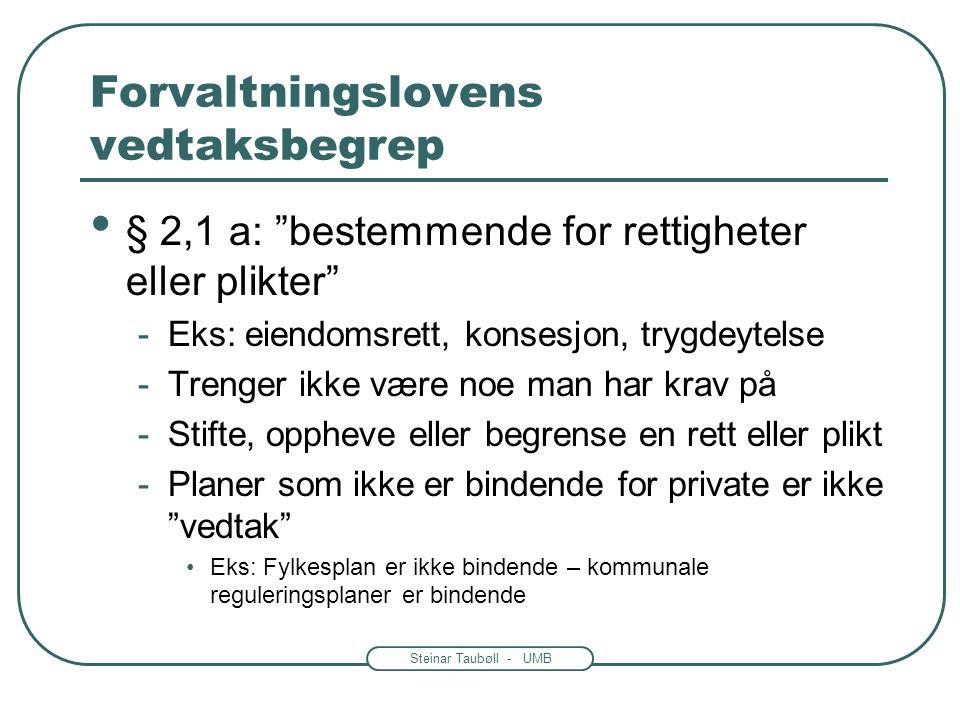 """Steinar Taubøll - UMB Forvaltningslovens vedtaksbegrep • Ikke alle avgjørelser er """"vedtak"""" • To typer vedtak -Enkeltvedtak – kap. IV-VI -Forskrift- ka"""