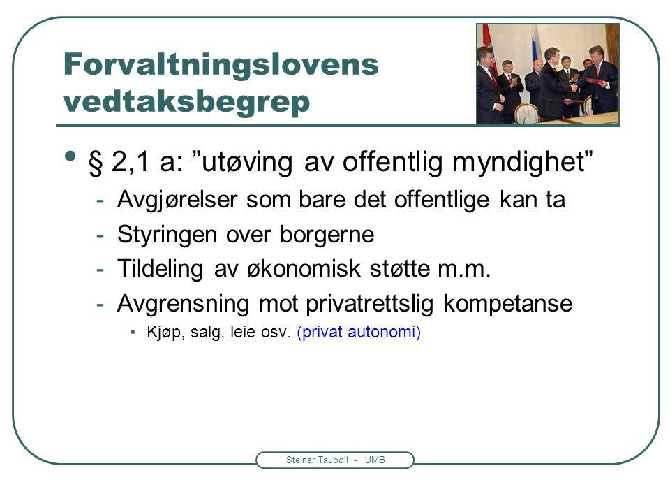 """Steinar Taubøll - UMB Forvaltningslovens vedtaksbegrep • § 2,1 a: """"bestemmende for rettigheter eller plikter"""" -Eks: eiendomsrett, konsesjon, trygdeyte"""