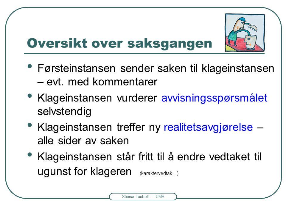 Steinar Taubøll - UMB Oversikt over saksgangen • Det må klages innen en viss frist • Klagen sendes til organet som gjorde vedtaket = førsteinstansen •