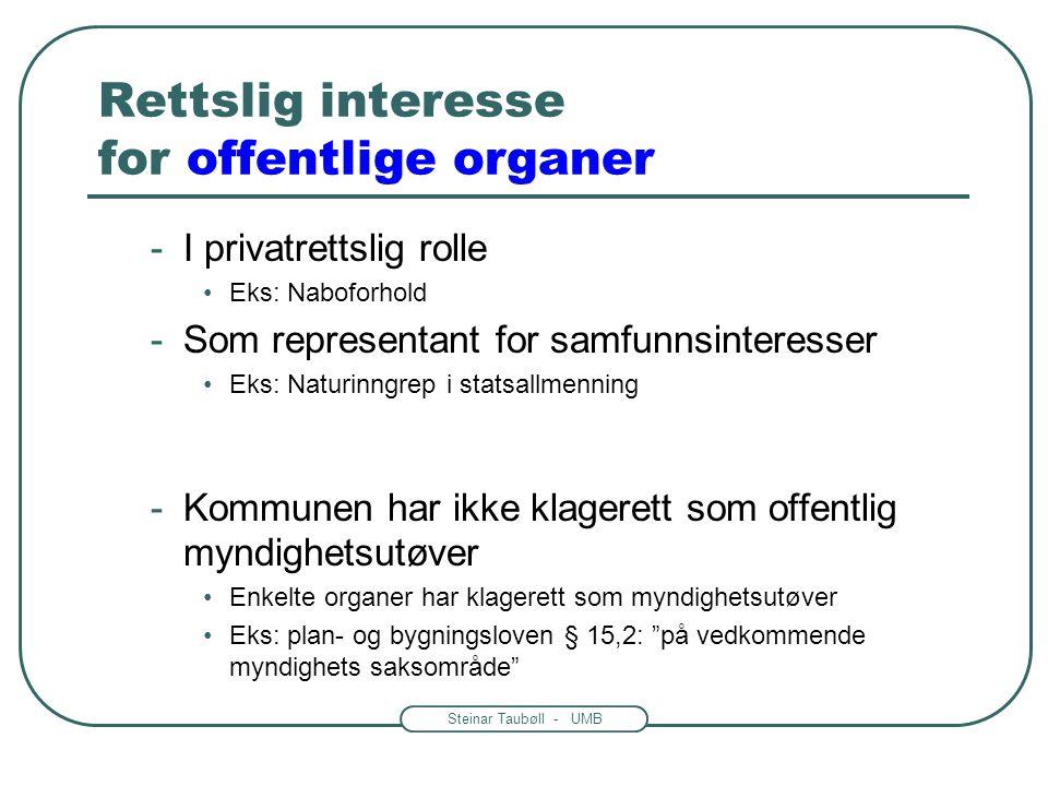 Steinar Taubøll - UMB Rettslig interesse for private -Konkurranseforhold til en part •Eks: søkt samme tillatelse til næringsdrift -Interessemotsetning