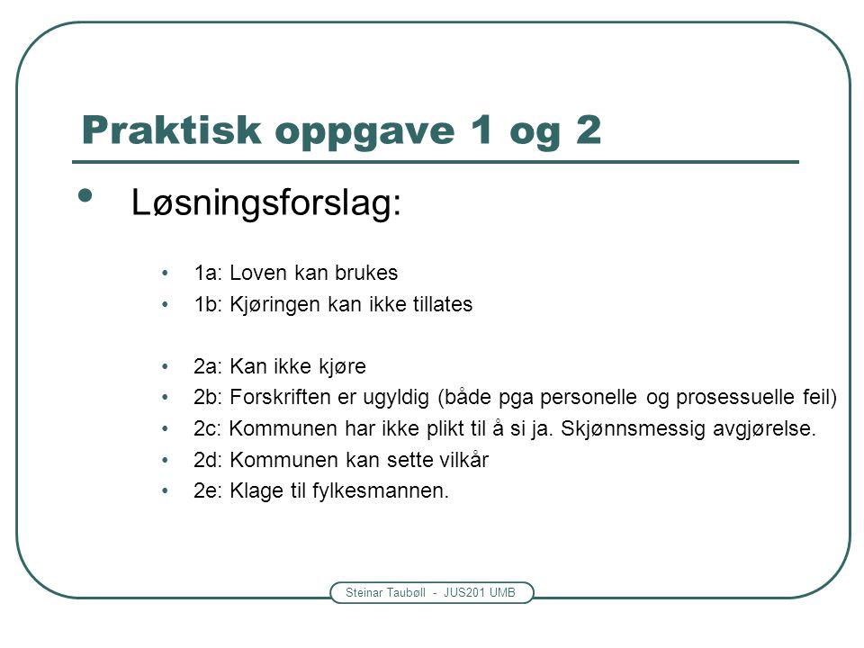 Steinar Taubøll - JUS201 UMB Praktisk oppgave 1 og 2 • Løsningsforslag: •1a: Loven kan brukes •1b: Kjøringen kan ikke tillates •2a: Kan ikke kjøre •2b: Forskriften er ugyldig (både pga personelle og prosessuelle feil) •2c: Kommunen har ikke plikt til å si ja.