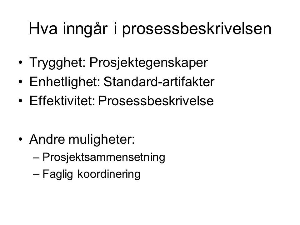 Hva inngår i prosessbeskrivelsen •Trygghet: Prosjektegenskaper •Enhetlighet: Standard-artifakter •Effektivitet: Prosessbeskrivelse •Andre muligheter: –Prosjektsammensetning –Faglig koordinering