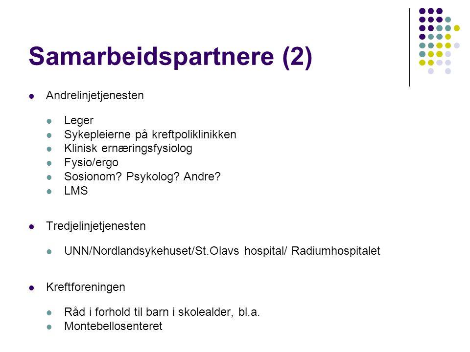 Samarbeidspartnere (2)  Andrelinjetjenesten  Leger  Sykepleierne på kreftpoliklinikken  Klinisk ernæringsfysiolog  Fysio/ergo  Sosionom? Psykolo
