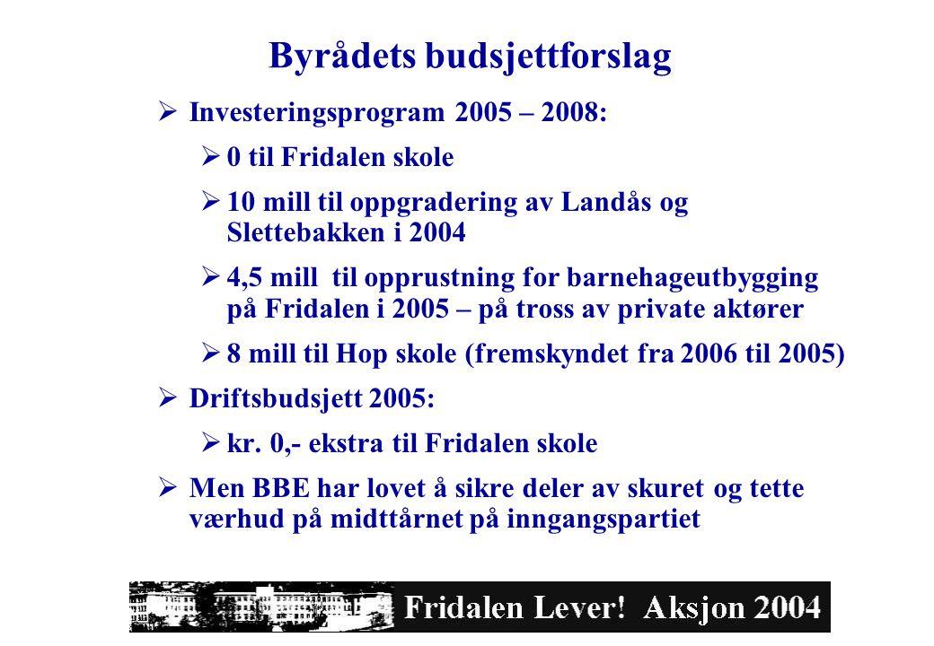 Byrådets budsjettforslag  Investeringsprogram 2005 – 2008:  0 til Fridalen skole  10 mill til oppgradering av Landås og Slettebakken i 2004  4,5 mill til opprustning for barnehageutbygging på Fridalen i 2005 – på tross av private aktører  8 mill til Hop skole (fremskyndet fra 2006 til 2005)  Driftsbudsjett 2005:  kr.