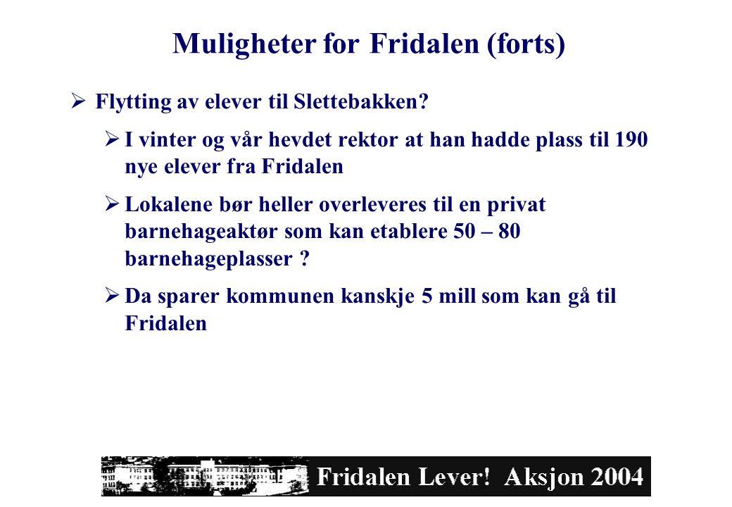 Muligheter for Fridalen (forts)  Flytting av elever til Slettebakken?  I vinter og vår hevdet rektor at han hadde plass til 190 nye elever fra Frida