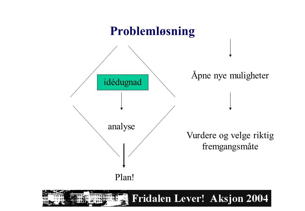 Problemløsning Åpne nye muligheter Vurdere og velge riktig fremgangsmåte idédugnad analyse Plan!