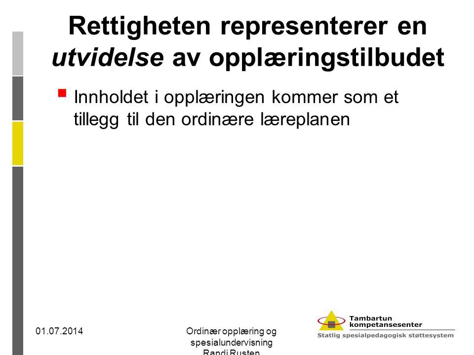 Rettigheten representerer en utvidelse av opplæringstilbudet  Innholdet i opplæringen kommer som et tillegg til den ordinære læreplanen 01.07.2014Ord