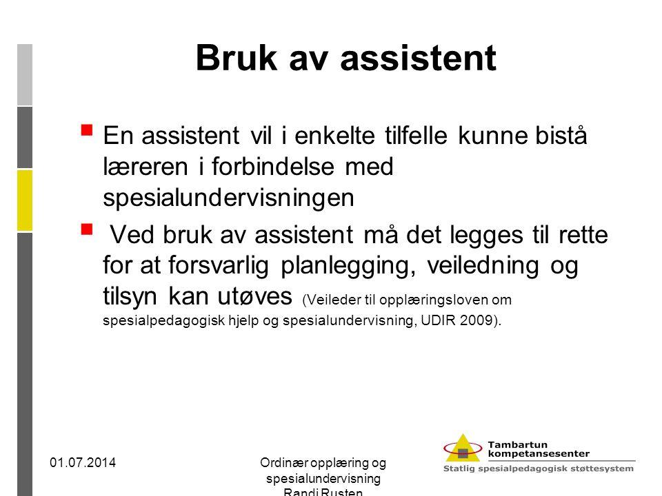Bruk av assistent  En assistent vil i enkelte tilfelle kunne bistå læreren i forbindelse med spesialundervisningen  Ved bruk av assistent må det leg