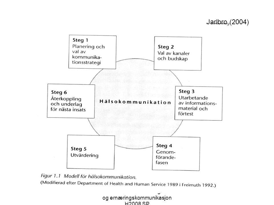 Sosiale ulikheter i helse og helse- og ernæringskommunikasjon H2008 SP Jarlbro (2004)