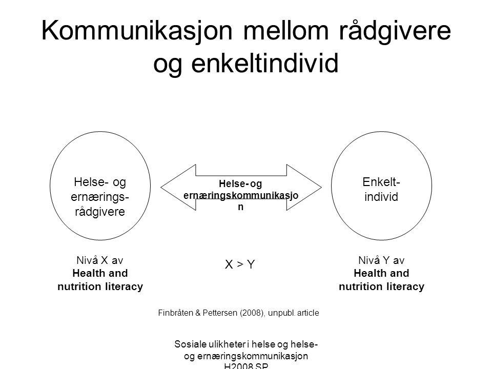 Sosiale ulikheter i helse og helse- og ernæringskommunikasjon H2008 SP Kommunikasjon mellom rådgivere og enkeltindivid Helse- og ernærings- rådgivere