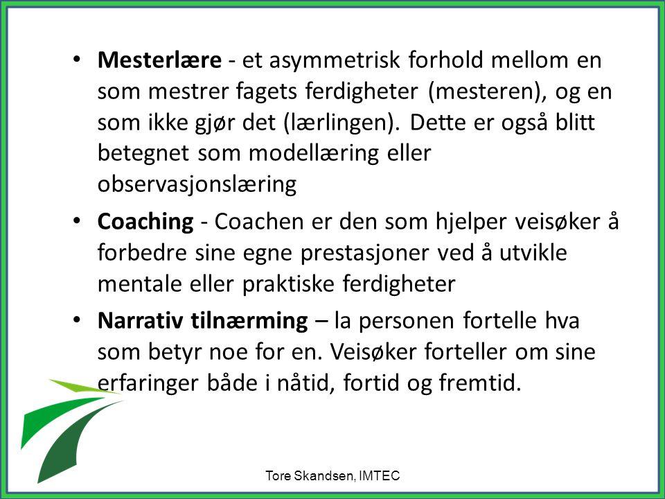 • Mesterlære - et asymmetrisk forhold mellom en som mestrer fagets ferdigheter (mesteren), og en som ikke gjør det (lærlingen).