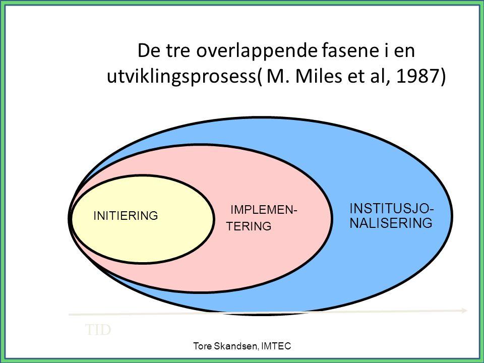 De tre overlappende fasene i en utviklingsprosess( M.