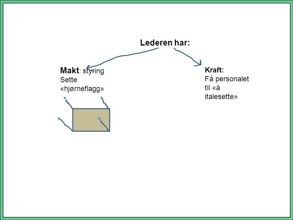 - Makt : styring Sette «hjørneflagg» Kraft: Få personalet til «å italesette» Lederen har: