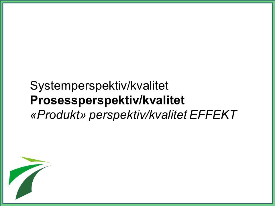 Systemperspektiv/kvalitet Prosessperspektiv/kvalitet «Produkt» perspektiv/kvalitet EFFEKT