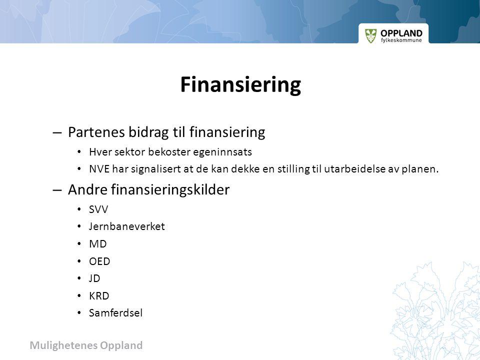 Mulighetenes Oppland Finansiering – Partenes bidrag til finansiering • Hver sektor bekoster egeninnsats • NVE har signalisert at de kan dekke en stilling til utarbeidelse av planen.