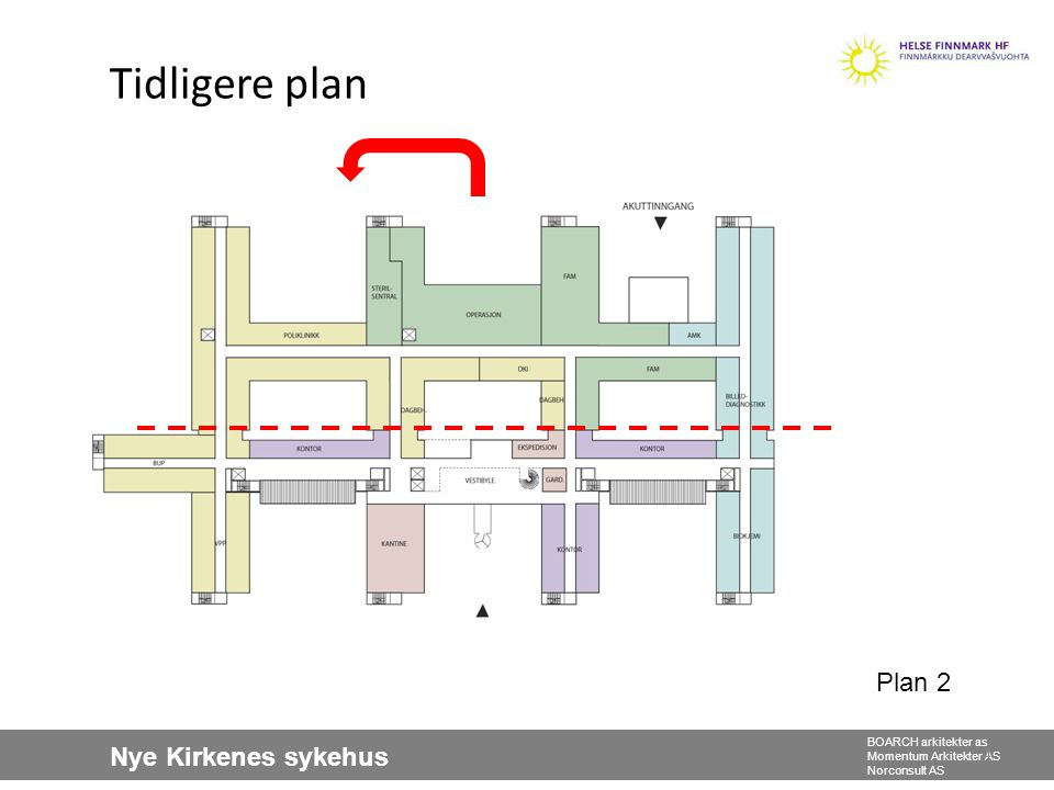 Nye Kirkenes sykehus BOARCH arkitekter as Momentum Arkitekter AS Norconsult AS Tidligere plan 4 Plan 2