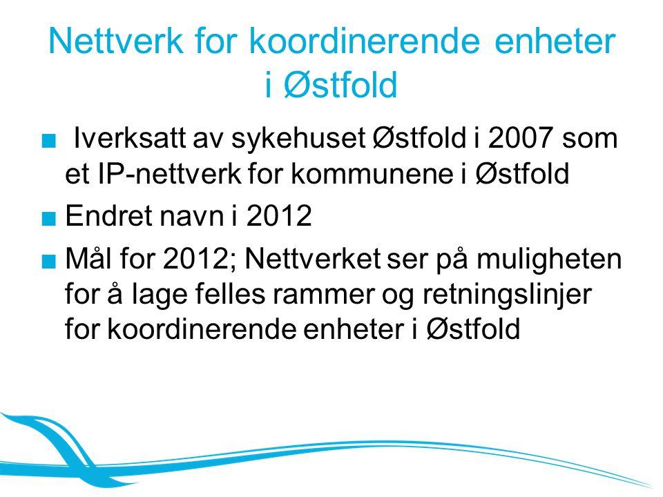 Nettverk for koordinerende enheter i Østfold ■ Iverksatt av sykehuset Østfold i 2007 som et IP-nettverk for kommunene i Østfold ■Endret navn i 2012 ■M