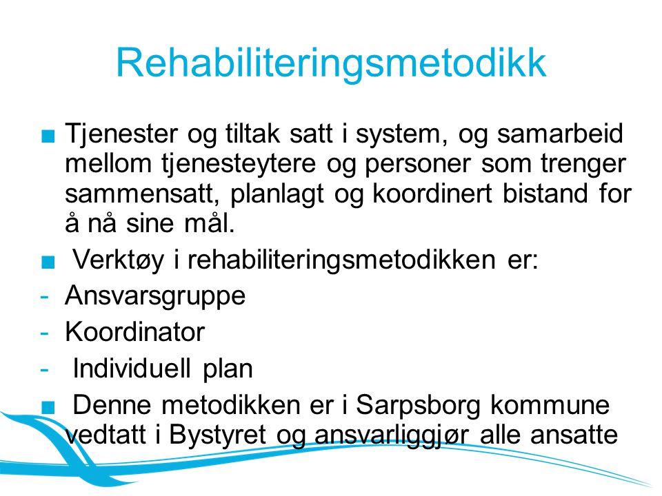 Rehabiliteringsmetodikk ■Tjenester og tiltak satt i system, og samarbeid mellom tjenesteytere og personer som trenger sammensatt, planlagt og koordinert bistand for å nå sine mål.