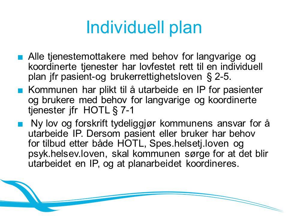 Individuell plan ■Alle tjenestemottakere med behov for langvarige og koordinerte tjenester har lovfestet rett til en individuell plan jfr pasient-og brukerrettighetsloven § 2-5.