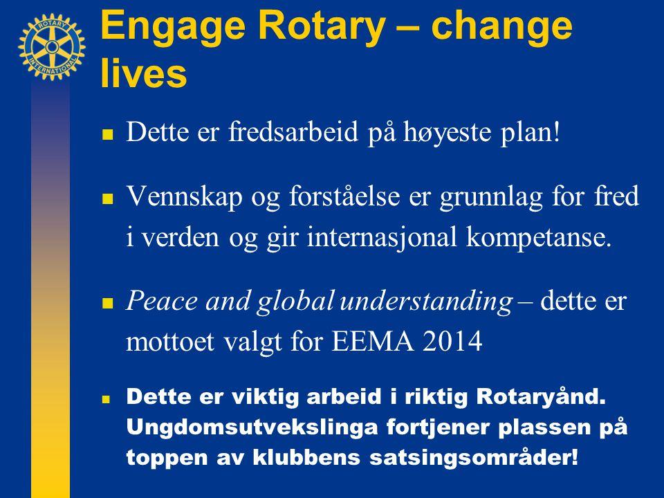 Engage Rotary – change lives  Dette er fredsarbeid på høyeste plan.
