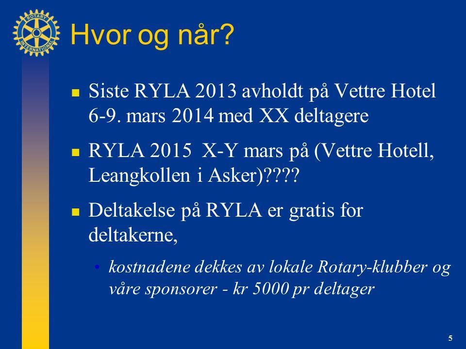 5 Hvor og når.  Siste RYLA 2013 avholdt på Vettre Hotel 6-9.
