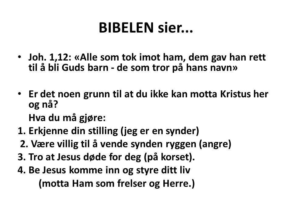 BIBELEN sier... • Joh. 1,12: «Alle som tok imot ham, dem gav han rett til å bli Guds barn - de som tror på hans navn» • Er det noen grunn til at du ik