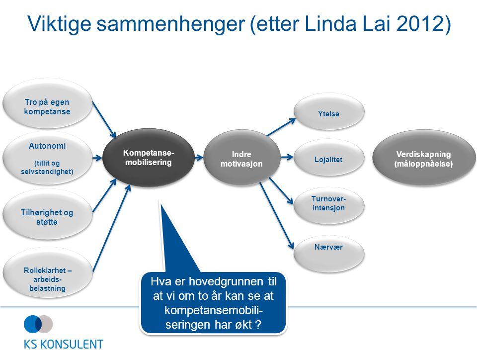 Viktige sammenhenger (etter Linda Lai 2012) Kompetanse- mobilisering Ytelse Lojalitet Turnover- intensjon Turnover- intensjon Verdiskapning (måloppnåe
