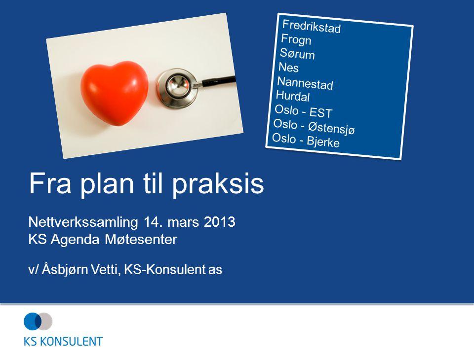 Fra plan til praksis Nettverkssamling 14. mars 2013 KS Agenda Møtesenter v/ Åsbjørn Vetti, KS-Konsulent as Fredrikstad Frogn Sørum Nes Nannestad Hurda