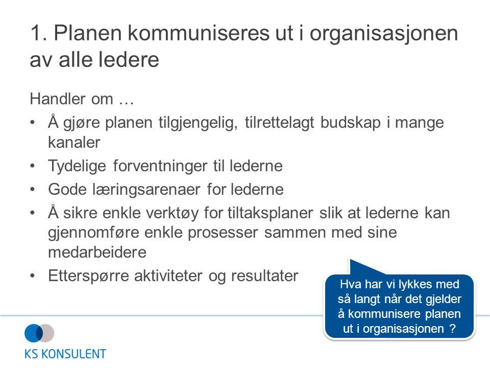 1. Planen kommuniseres ut i organisasjonen av alle ledere Handler om … •Å gjøre planen tilgjengelig, tilrettelagt budskap i mange kanaler •Tydelige fo