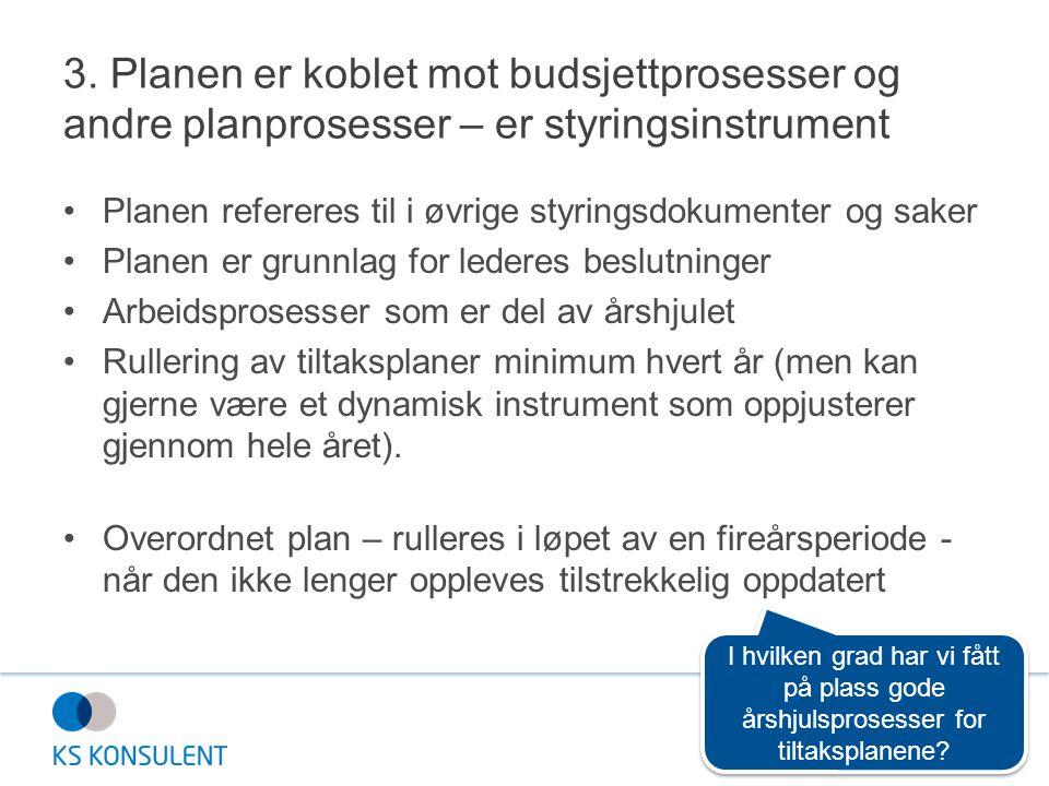 3. Planen er koblet mot budsjettprosesser og andre planprosesser – er styringsinstrument •Planen refereres til i øvrige styringsdokumenter og saker •P