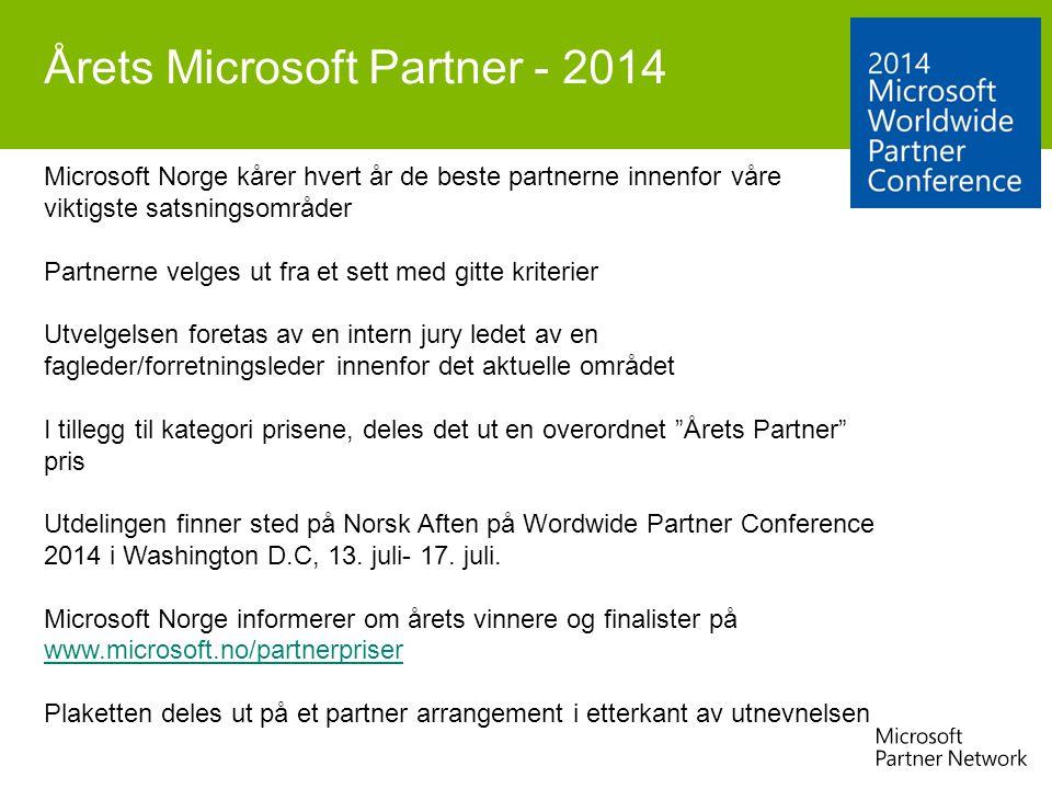 Årets Microsoft Partner - 2014 Microsoft Norge kårer hvert år de beste partnerne innenfor våre viktigste satsningsområder Partnerne velges ut fra et s