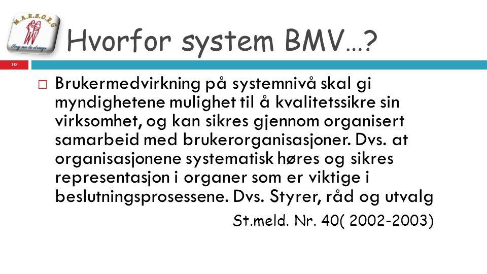 Hvorfor system BMV…?  Brukermedvirkning på systemnivå skal gi myndighetene mulighet til å kvalitetssikre sin virksomhet, og kan sikres gjennom organi
