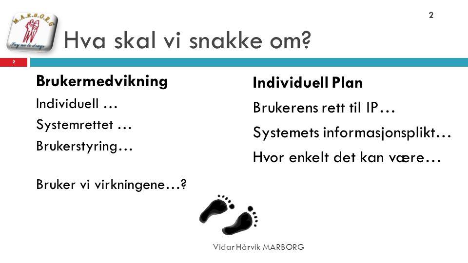 Hva skal vi snakke om? Brukermedvikning Individuell … Systemrettet … Brukerstyring… Bruker vi virkningene…? Individuell Plan Brukerens rett til IP… Sy