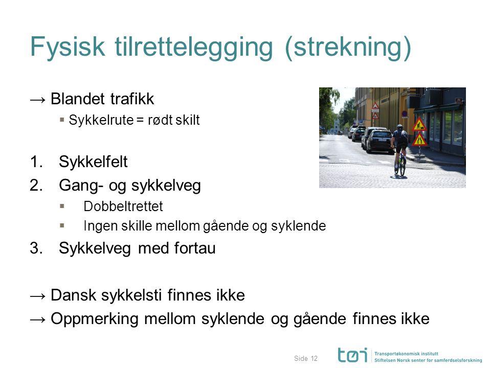 Side Fysisk tilrettelegging (strekning) → Blandet trafikk  Sykkelrute = rødt skilt 1. Sykkelfelt 2. Gang- og sykkelveg  Dobbeltrettet  Ingen skille