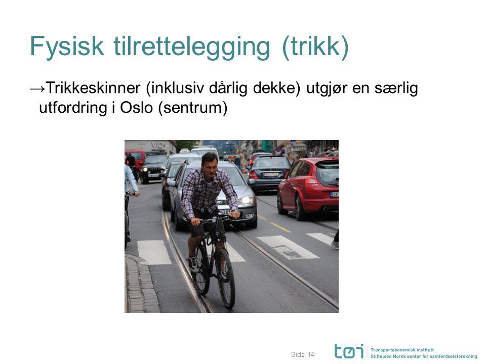 Side Fysisk tilrettelegging (trikk) →Trikkeskinner (inklusiv dårlig dekke) utgjør en særlig utfordring i Oslo (sentrum) 14